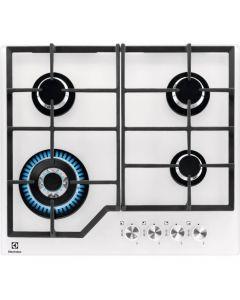 Plita incorporabila pe gaz Electrolux KGG6436W, 4 zone de gatit, arzator Wok, aprindere electrica, dispozitiv de siguranta, gratare fonta, 60 cm, sticla alba