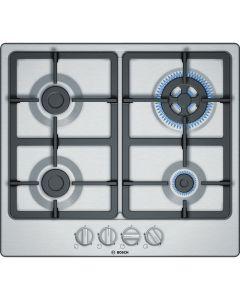 Bosch Plita incorporabila pe gaz PGH6B5B90, 60 cm, 4 arzatoare, gratare fonta, inox