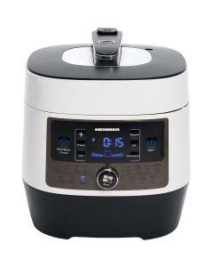 Multicooker cu gatire la presiune Heinner HPCK-6WH, 14 programe, vas antiadeziv detasabil, Timer, presiune reglabila, display LED, Alb