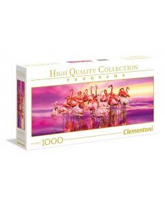 Puzzle panoramic Clementoni - Dance of Pink Flamingos, 1.000 piese (39427)
