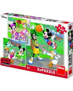 Puzzle Dino - Mickey, 3x55 piese (62886)