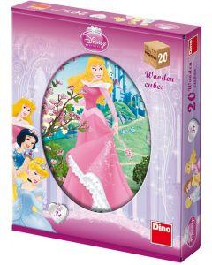 Puzzle cuburi din lemn Dino - Disney Princess, 20 piese (63023)