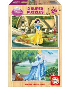 Puzzle din lemn Educa - Disney Princesses: Snow-White and Cinderella, 2x25 piese (15591)