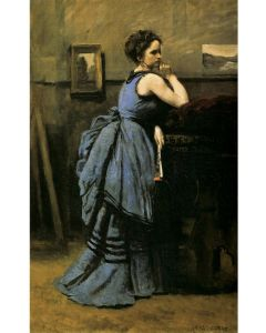 Puzzle din lemn Michele Wilson - Jean-Baptiste Camille Corot: La Dame en Bleu, 1874, 80 piese (64509)
