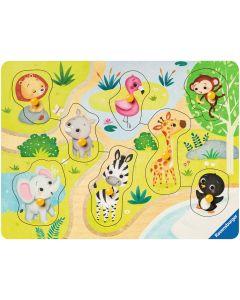 Puzzle din lemn Ravensburger - Animale Zoo, 8 piese (03687)