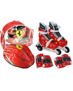 Role copii Saica reglabile, 31-34, Ferrari, cu protectii si casca, in ghiozdan