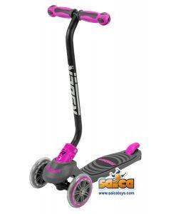 Trotineta pentru copii cu 3 roti Saica Ryder Neo 3406 cu roti din silicon reglabila pe inaltime, pliabila roz cu negru