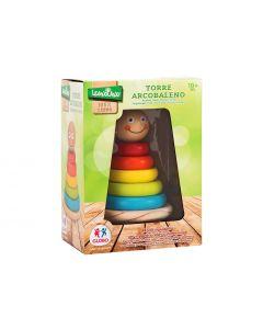 Joc de stivuit din lemn pentru bebelusi Globo 37343 turn cu cercuri colorate