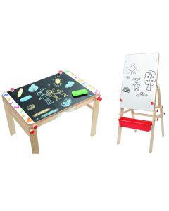 Set 2 in 1 Globo tablita si bancuta din lemn cu accesorii