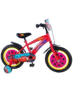 Bicicleta Volare pentru baieti, 14 inch, cu roti ajutatoare, 85% asamblata, Disney Cars 3