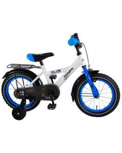 Bicicleta Volare pentru baieti, 14 inch, 95% asamblata, Thombike, Alb cu Albastru