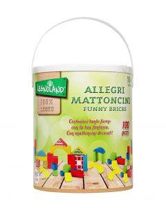 Galetusa cu cuburi colorate din lemn 100 piese Globo