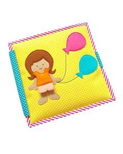 Carti educative Jolly Designs, din fetru, cu activitati pentru bebelusi si copii Balloon Girl - Quiet books - solutia ideala pentru deplasari cu masina sau avionul