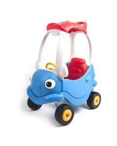 Masinuta din plastic, de impins, cu maner pentru control parental, albastru cu rosu
