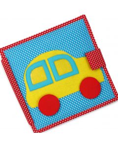 Carti educative Jolly Designs, din fetru, cu activitati pentru bebelusi si copii The Fast Car - Quiet books - solutia ideala pentru deplasari cu masina sau avionul