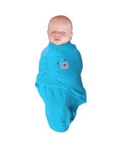 Body special bebelusi din bumbac BO Jungle, tip wrap Ursulet Albastru, S, 3-6 kg