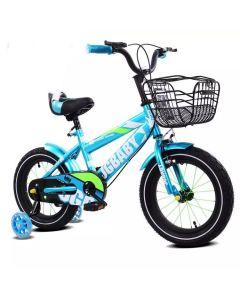 Bicicleta Smart turcoaz pentru  copii cu varsta intre 2-6 ani,roti aparatoare  cu luminite colorate si cosulet pentru jucarii