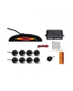 Senzori parcare auto EVT P08, kit 8 senzori, display LED si avertizare sonora