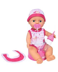 Papusa Simba New Born Baby 30 cm Bebe Darling cu olita si bavetica roz inchis