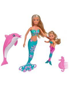 Set Simba Steffi Love Mermaid Friends papusa 29 cm, papusa 12 cm, delfin si accesorii