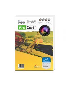Folie FOTO autoadeziva Glossy aurie A4 printabila inkjet