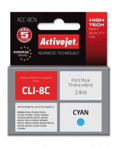 Cartus compatibil CLI-8C Cyan pentru Canon, 14 ml, Premium Activejet, Garantie 5 ani