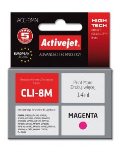 Cartus compatibil CLI-8M Magenta pentru Canon, 14 ml, Premium Activejet, Garantie 5 ani