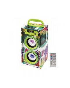 Boxa portabila multimedia, 20W, bluetooth, USB, SD, cu telecomanda, verde