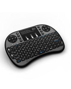 Mini tastatura wireless iluminata LED, cu touchpad, butoane multimedia, compatibila PC, Android, Linux, Rii